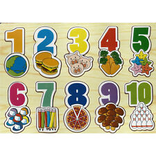 Wooden Number Puzzler With Pictures Puzzle Educational Numbers Children's New