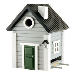 DESIGNER WOODEN BIRD HOUSE + FEEDER - FOG GREY