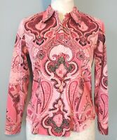 Jones New York Signature Womens PM Blouse Long Sleeve Pink Paisley Print Cotton