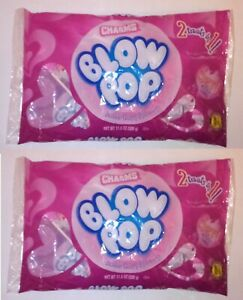 2 Bags Charms Blow Pop Bubble Gum Filled Pops, 11.5 oz Each Bag