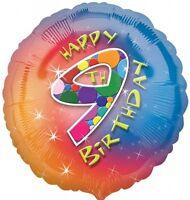Felice 9th Compleanno Stagnola Palloncino - Multicolore 43.2cm {Anagramma} (Elio