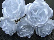 5 Boda nupcial Blanco Rosa Flor Pelo Prendedores Clips Grips Hecho A Mano
