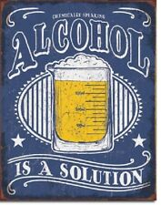 Alcohol Is A Solution Liquor Funny Humor Retro Wall Bar Pub Decor Metal Tin Sign