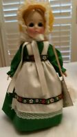 """Effanbee Mother Hubbard #1188 11"""" Vintage Doll, Stand, Box, Tag, Broom"""