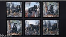 6 WILDLIFE PANELS BLACK BEAR GRIZZLY FABRIC MATERIAL FOR QUILTS HOME DECOR
