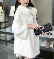 womens winter faux mink fur jacket soft fur white black coat outwear fur parka