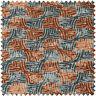 Blue Orange Check Balance Geometric Design Soft Woven Chenille Upholstery Fabric