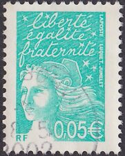 France - 2002 - 5 Cents Bright Blue Green Marianne Euro Denominated Issue # 2851