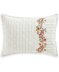 Martha Stewart STANDARD Pillow Sham Cotton Embroidered Flowers WHITE 306
