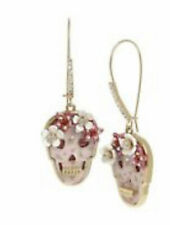 Betsey Johnson Crystal Accent Pink Floral Skull Drop Earrings A117a