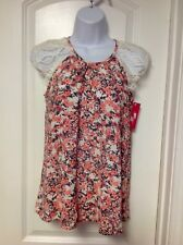 xhilaration Coral Colored Floral Lace Cap Sleeve Top Size XS NWT
