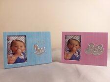 Lot of 2 Baby Boy & Girl 2x3 Picture Frames Newborn Keepsake Baby Shower Gift