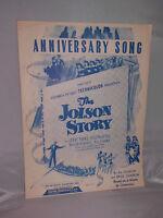 VTG Sheet Music: Anniversary Song 1946 The Jolson Story Al Jolson & Saul Chaplin