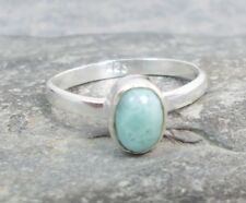 925 Silver Genuine BLUE LARIMAR Solitaire Stack Ring Sz L-5.5 R608~Silverwave*uk