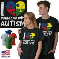 I Love Someone With Autism Support Awareness Short Sleeve T-Shirt Tees Tshirts