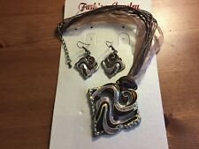 1 Square Brown Crystal & Enamel Necklace/Ribbon and Cord & Bronze Earring Set