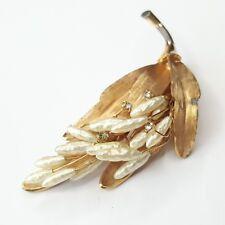 Signed KRAMER Vintage Brooch Pin Baroque Pearl Leaf Flower Gold Tn Crystal S155