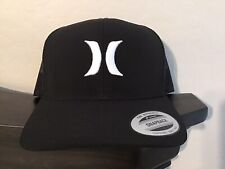 HURLEY Icon Solid Trucker Snapback Hat Cap Adjustable Yupoong Black Mesh NEW