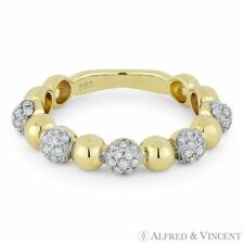 14k Yellow White Gold Right-Hand Ring 0.39ct Diamond Pave & Ball Stackable Band