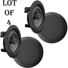 In-Wall / In-Ceiling Dual 8-inch Speaker System 2-Way Flush Mount Black (2 Pair)