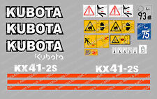 KUBOTA KX41-2S MINI DIGGER COMPLETE DECAL SET WITH SAFETY WARNING SIGNS