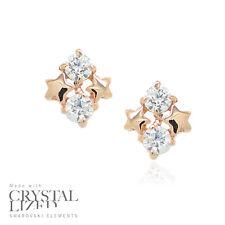 TWIN STARS Swarovski Elements Crystal 18-KRGP Gold Plated Bride Stud Earrings