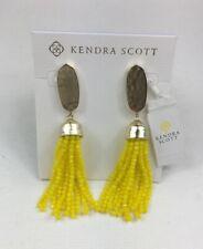 Kendra Scott Marin Yellow Beaded Tassel Drop Earrings Pouch Tags