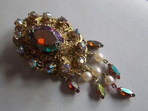 Glorious Vintage 50's Antique Inspired Czech Glass & Faux Pearl Waterfall Brooch