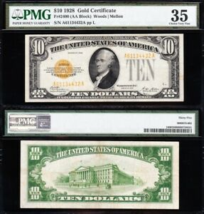 AWESOME Crisp Choice VF++ 1928 $10 GOLD CERTIFICATE! PMG 35! FREE SHIP! 34432A
