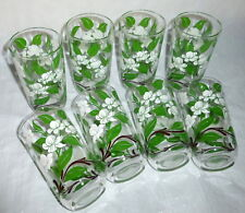 "8 Vintage 1950's Embossed Green & White Flowers 5"" Drinking Glasses - Never Used"