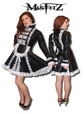 Inadaptados Negro de cuero de lujo aspecto Candado Con Llave Francesa Maids Vestido, Talla 22 TV