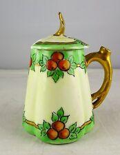 P & P La Seynie Limoges Miniature Hand Painted Quatrefoil Shaped Jam Jar W/Lid