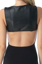 Sky Clothing Brand L $182 Maxi Dress Black Leather Open Back Slits Sexy Cocktail