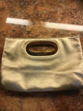Michael Kors Berkley Handbag Clutch Pouch Purse Evening Bag Metallic Gold Handle