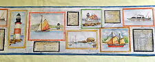 "Marina Boats Ships Lighthouse Coastal Wallpaper Border 2 Rolls 7"" x 5 yds Each"