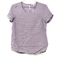 DR2 By Daniel Rainn Purple Crew Short Sleeve Rayon Back Pleat Hi Lo Blouse M