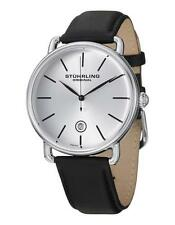Stuhrling Original 768 01 Swiss Quartz Date Black Leather Strap Mens Watch
