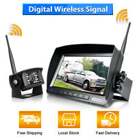 "Wireless Car Backup Camera Rear View HD Parking System Night Vision + 7"" Monitor"