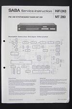 Saba synthétiseur tuner MT 280 L'INSTRUCTION DE SERVICE/manuelle/Diagram/