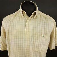 Lacoste Mens Vintage Casual Shirt 38 (MEDIUM) Short Sleeve Beige Check Lyocell