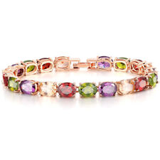 "Rose Gold Multicolor Topaz Fashion Womens Jewelry Gems Chain Bracelet 7"" NS2183"