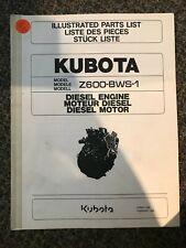 Kubota Illustrated Parts List Z600 Bws 1 Diesel Engine