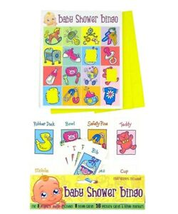Baby Shower Bingo Party Game 8 Player Fun Pack Boy or Girl Unisex