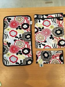 Lot of 3 PLANET WISE M Wet/Dry Bag, Changing Pad, Wipes Bag in Art Deco Pattern