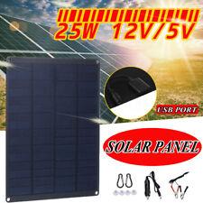 25W 12V Monocrystalline Solar Panel Battery Charger Rv Motorhome Boat