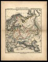 Russia in Europe c.1850 Petri Baedeker scarce map