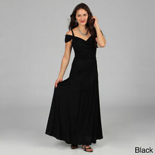 NEW Evanese Women's Long Elegant Dress with Shoulder Bands Black Small