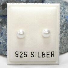 NEU 925 Silber OHRSTECKER 5mm PERLEN in weiß PERLENOHRRINGE OHRRINGE