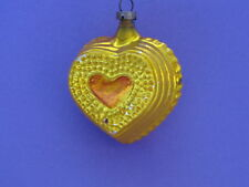 Soviet USSR New Year Toy - CHRISTMAS Mercury Glass ORNAMENT - GOLD COLOR HEART