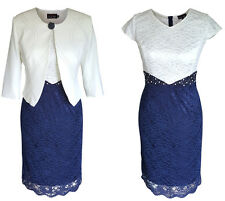 NAVY & IVORY LACE MOTHER OF THE BRIDE GROOM 2 PIECE OUTFIT DRESS JACKET SIZE 12